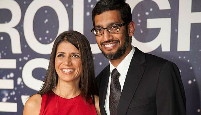 Sundar Pichai with his wife Anjali Pichai