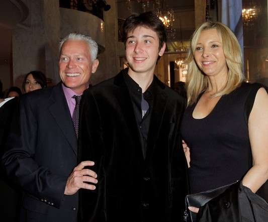 Julian Murray Stern and his parents Lisa Kudrow and Michel Stern